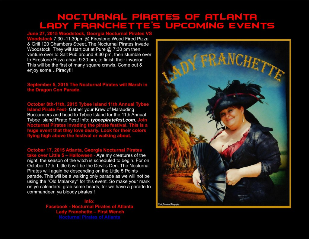 Nocturnal Pirates of Atlanta Lady Franchette's Upcoming Events