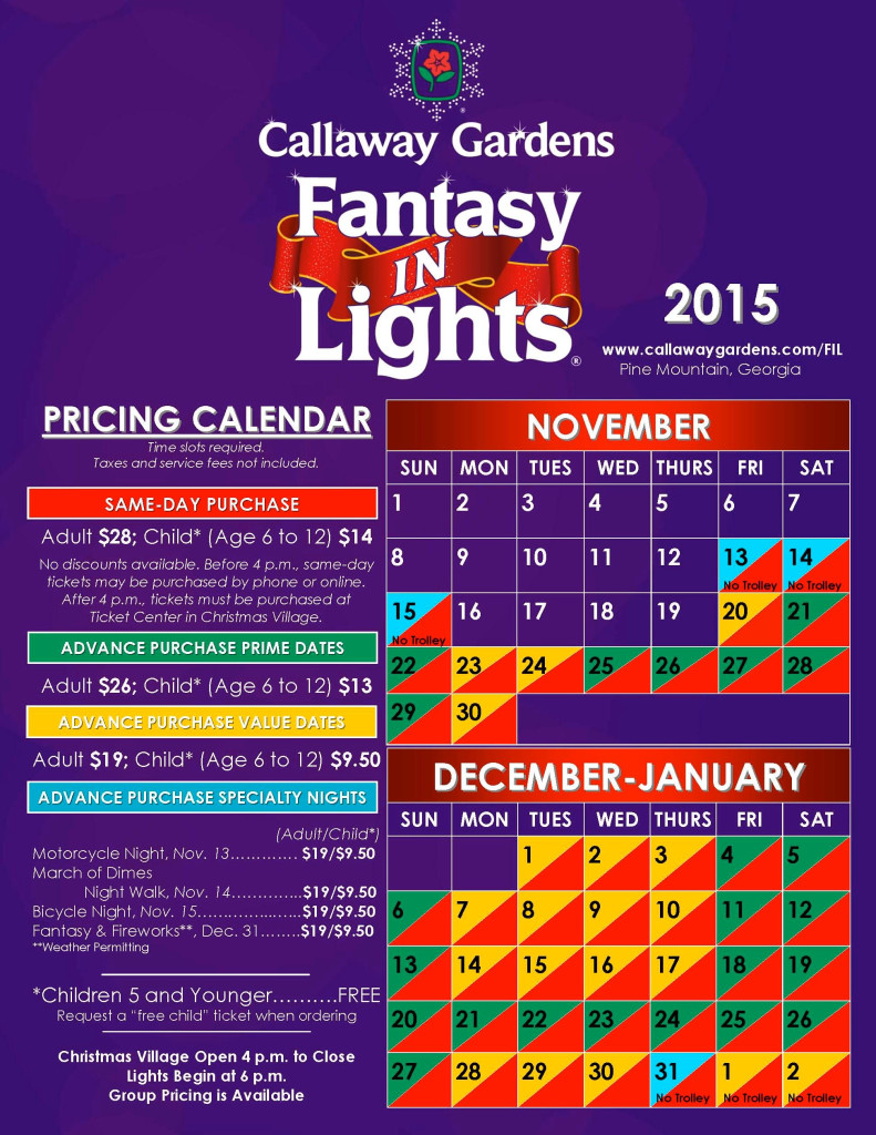 FIL 2015 Pricing Calendar